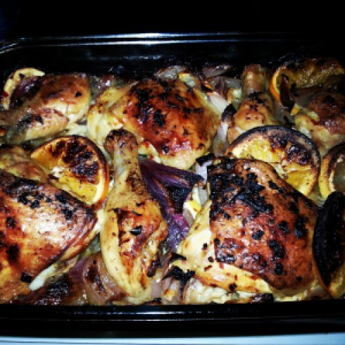 Citrus chicken hot from the oven.