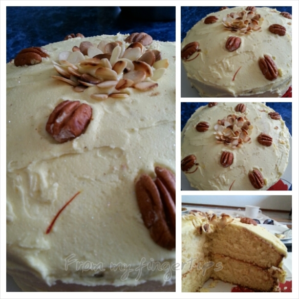 Baked a saffron and cardamom hot milk sponge cake. Topped with saffron butter icing and toasted almonds and pecan nuts.