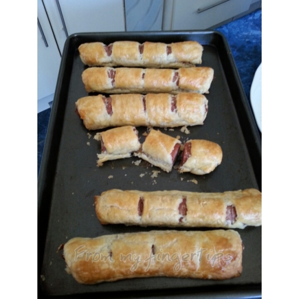 Sausage rolls. These are quick to put together if you have pastry and sausages at hand.
