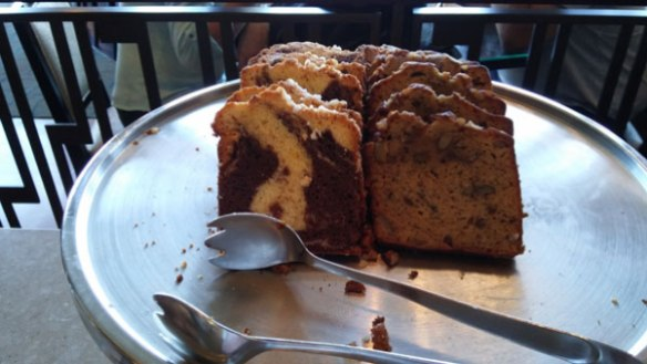 Marble cake and banana loaf.